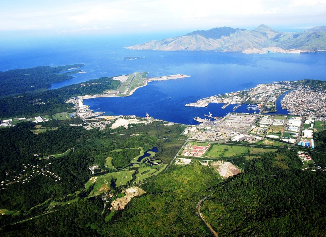Aerial shot of Subic Bay Freeport Zone overlooking Golf Course, Manufacturing Facilities, Yacht Club