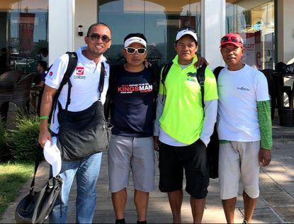 Zed Avecilla, Event Director with three (3) Filipino Crews from different boats - Darwin Santos (Kingsman Team), Rafael Buitre (Seawolf Team) and Victor Gordoncillo (Phoenix Team)