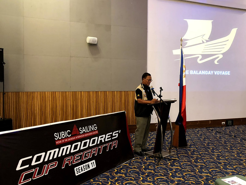 Mr. Art Valdez, Expedition leader of the Balangay and founder of Kaya ng Pinoy Foundation, discussing the Balangay Voyage during the Maritime Forum held at the Admiral Hall of Lighthouse Marina Resort
