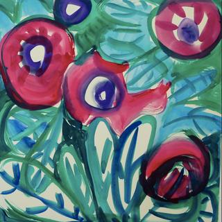 Gouache marouflé sur toile - 65x65