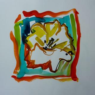 Encre marouflé sur toile - 40x40
