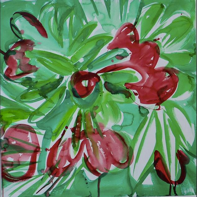 Gouache marouflé sur toile - 74x74