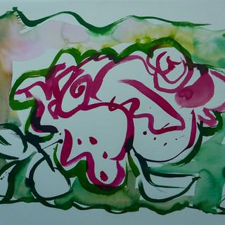 encre marouflé sur toile - 46x38