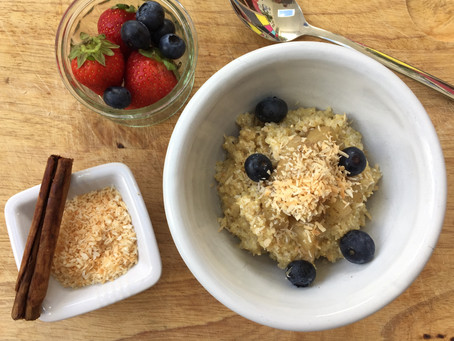 Quinoa Porridge with Spiced Apples, Blueberries & Toasted Coconut