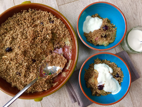 Sugar & Dairy Free Apple & Blueberry Crumble