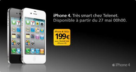 Telenet proposera demain l'iPhone 4 à partir d'1€ en Belgique