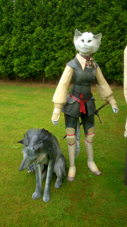 Character display with gray wolf.