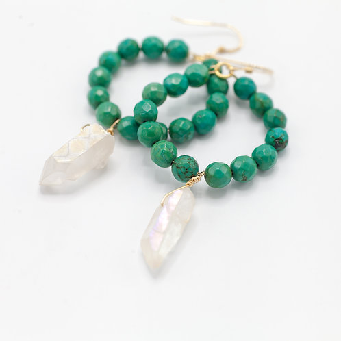 Green Turquoise Hoops & Quartz Drop