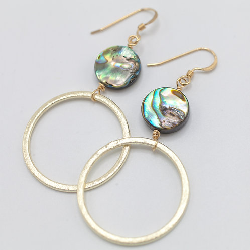 Abalone & Gold Hoop