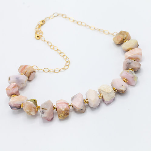 Pink Opal Nugget Necklace