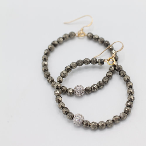 Pyrite & CZ Pave Hoops
