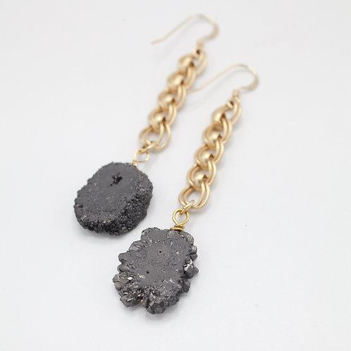 Black Druzy Drops