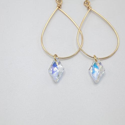 Gold Teardrop & Swarovski Rhombus - Crystal AB