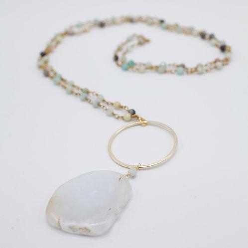 Agate & Amazonite rosary chain