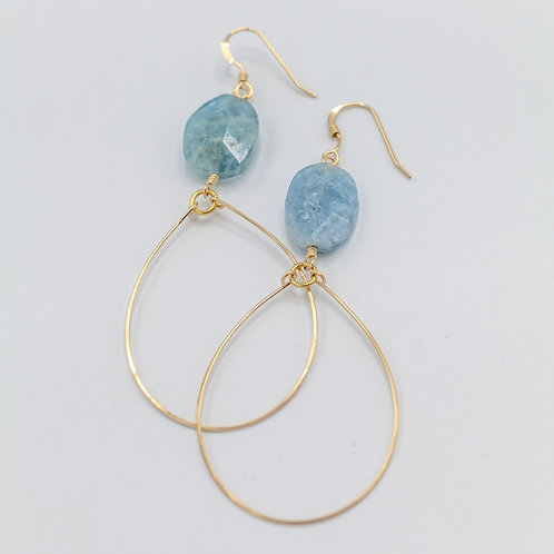Aquamarine & Gold Hoop