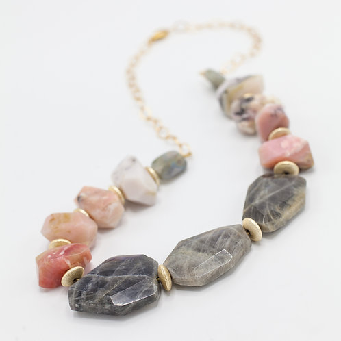 Labradorite & Pink Opal statement necklace