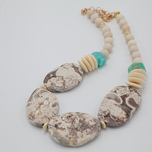 Ivory Jasper and Amazonite Statment necklace