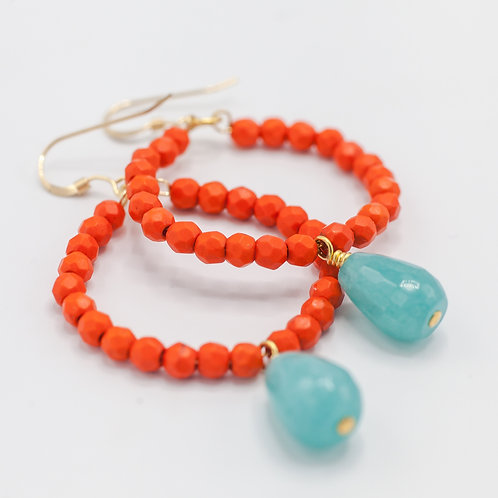 Orange Hoops & Teal Drop