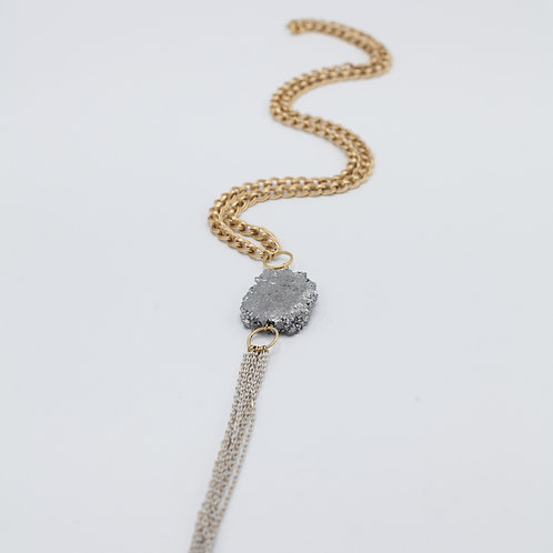 Silver Druzy Tassel