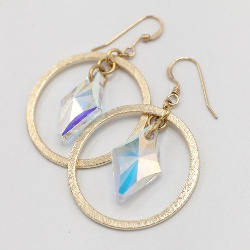 Gold Hoop & Rhombus - Crystal AB