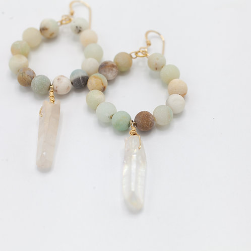 Amazonite Hoops & Quartz Drop