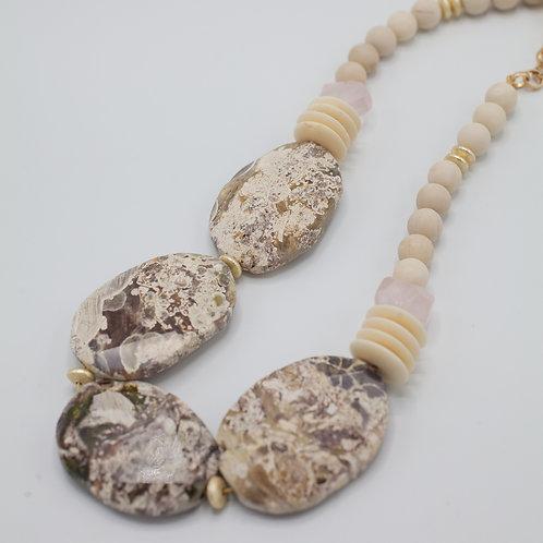 Ivory Jasper & Rose Quartz Statement necklace