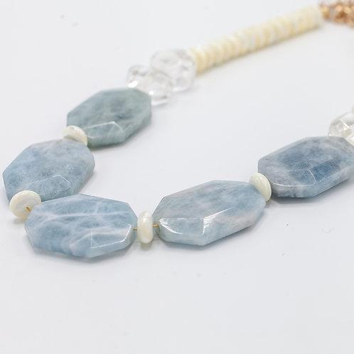 Aquamarine Slat Statement Necklace