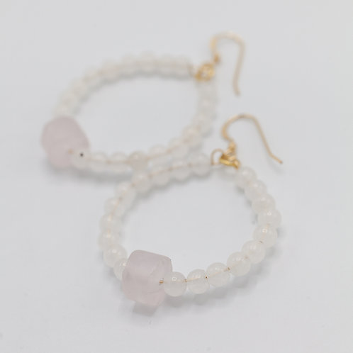 Rose Quartz Hoops
