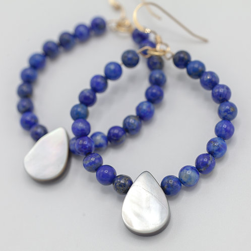 Lapis Hoops & Mother of Pearl