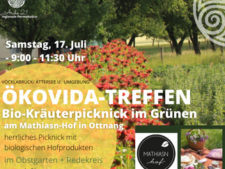 Ökovida-Treffen am Mathiasn-Hof zum Biokräuter-Picknick