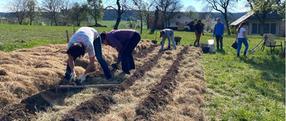 die Beete bekommen Sand, Erde und Kompost
