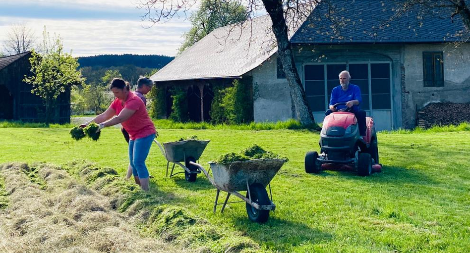 Ernst liebt den Rasenmäher-Traktor