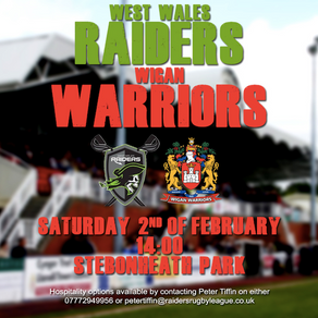 WEST WALES RAIDERS WILL TAKE ON WIGAN WARRIORS AT STEBONHEATH PARK