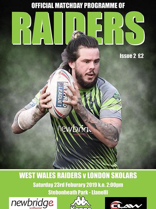 West Wales Raiders vs London Skolars Programes