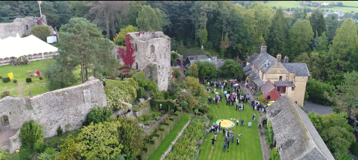 Aerial View of Castle House and Usk Castle 2017