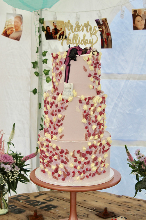 Piped floral Three Tier Wedding Cake