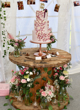 Handpainted and piped floral wedding cake