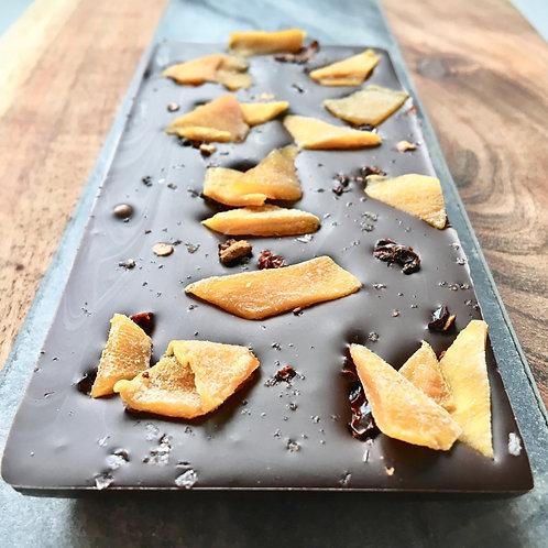 Lime & Mango Dark Chocolate with Chipotle & Smoked Sea Salt.