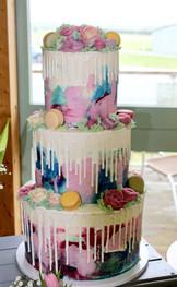 Watercolour Three Tier Wedding Cake with Ivory Drip