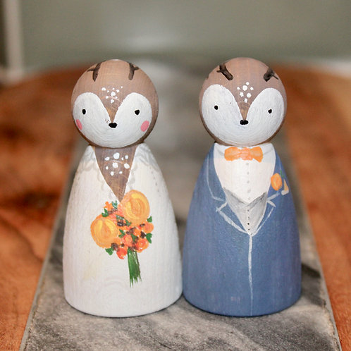 Stag & Doe Wooden Wedding Cake Toppers