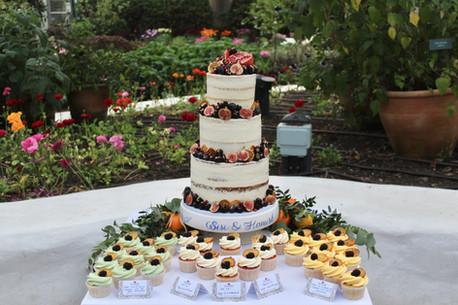 Vegan semi-naked wedding cake and cupcakes