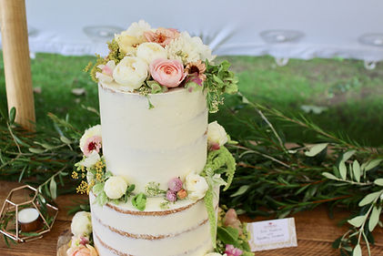 Edible Flowers Semi Naked Wedding Cake