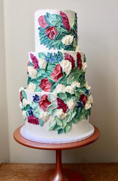 Handpainted floral buttercream wedding cake