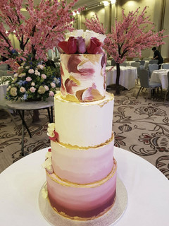Four-tier ombre pained cake