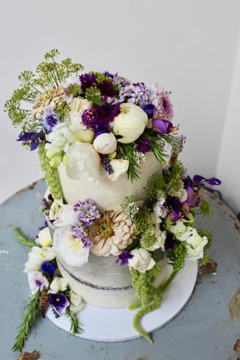 Seasonal Edible Flowers Wedding Cake