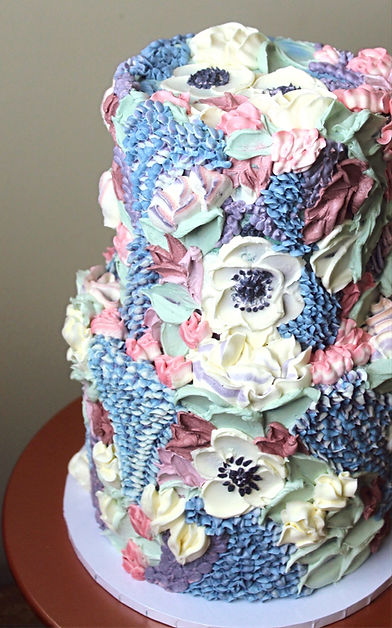 Painted Buttercream Wedding Cake Cornwall