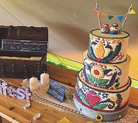 Mexican Embroidary Wedding Cake