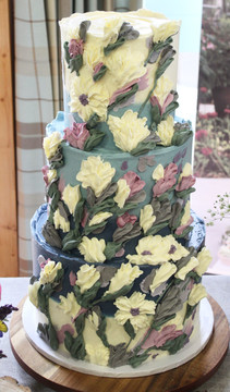 Ombre Blue Floral Wedding Cake