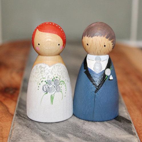 Bride & Groom Wooden Pegs Dolls 2