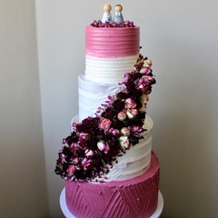 Dried Roses Four Tier Wedding Cake